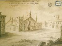 """Artista piemontese, XVIII secolo. """"Veduta del Duomo d'Alessandria della Paglia"""""""