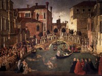 Gentile Bellini - Miracolo della Croce caduta nel Canale di S. Lorenzo